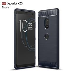 Luxury Carbon Fiber Brushed Wire Drawing Silicone TPU Back Cover for Sony Xperia XZ3 - Navy