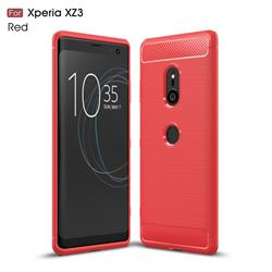 Luxury Carbon Fiber Brushed Wire Drawing Silicone TPU Back Cover for Sony Xperia XZ3 - Red