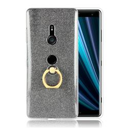 Luxury Soft TPU Glitter Back Ring Cover with 360 Rotate Finger Holder Buckle for Sony Xperia XZ3 - Black