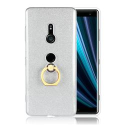 Luxury Soft TPU Glitter Back Ring Cover with 360 Rotate Finger Holder Buckle for Sony Xperia XZ3 - White