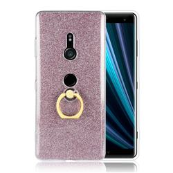 Luxury Soft TPU Glitter Back Ring Cover with 360 Rotate Finger Holder Buckle for Sony Xperia XZ3 - Pink