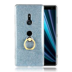 Luxury Soft TPU Glitter Back Ring Cover with 360 Rotate Finger Holder Buckle for Sony Xperia XZ3 - Blue