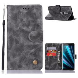 Luxury Retro Leather Wallet Case for Sony Xperia XZ3 - Gray