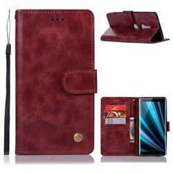 Luxury Retro Leather Wallet Case for Sony Xperia XZ3 - Wine Red