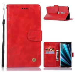 Luxury Retro Leather Wallet Case for Sony Xperia XZ3 - Red
