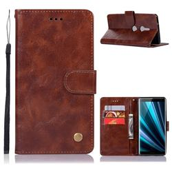 Luxury Retro Leather Wallet Case for Sony Xperia XZ3 - Brown