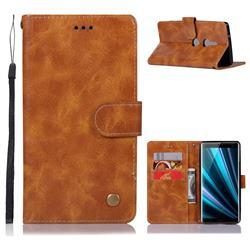 Luxury Retro Leather Wallet Case for Sony Xperia XZ3 - Golden