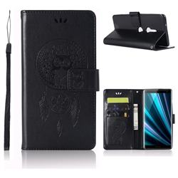 Intricate Embossing Owl Campanula Leather Wallet Case for Sony Xperia XZ3 - Black