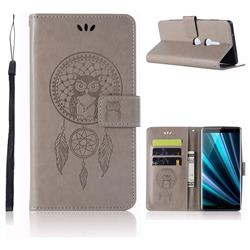 Intricate Embossing Owl Campanula Leather Wallet Case for Sony Xperia XZ3 - Grey