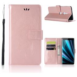 Intricate Embossing Owl Campanula Leather Wallet Case for Sony Xperia XZ3 - Rose Gold