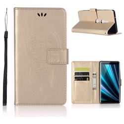 Intricate Embossing Owl Campanula Leather Wallet Case for Sony Xperia XZ3 - Champagne