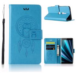 Intricate Embossing Owl Campanula Leather Wallet Case for Sony Xperia XZ3 - Blue