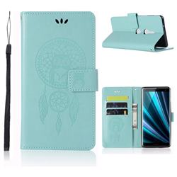 Intricate Embossing Owl Campanula Leather Wallet Case for Sony Xperia XZ3 - Green