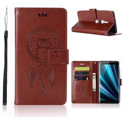 Intricate Embossing Owl Campanula Leather Wallet Case for Sony Xperia XZ3 - Brown