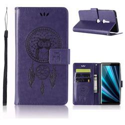 Intricate Embossing Owl Campanula Leather Wallet Case for Sony Xperia XZ3 - Purple