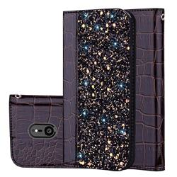 Shiny Crocodile Pattern Stitching Magnetic Closure Flip Holster Shockproof Phone Cases for Sony Xperia XZ3 - Black Brown