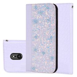 Shiny Crocodile Pattern Stitching Magnetic Closure Flip Holster Shockproof Phone Cases for Sony Xperia XZ3 - White Silver