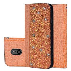 Shiny Crocodile Pattern Stitching Magnetic Closure Flip Holster Shockproof Phone Cases for Sony Xperia XZ3 - Gold Orange