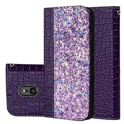 Shiny Crocodile Pattern Stitching Magnetic Closure Flip Holster Shockproof Phone Cases for Sony Xperia XZ3 - Purple