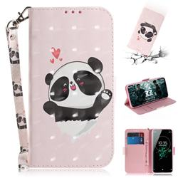 Heart Cat 3D Painted Leather Wallet Phone Case for Sony Xperia XZ3