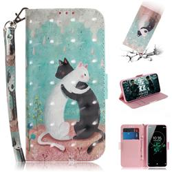 Black and White Cat 3D Painted Leather Wallet Phone Case for Sony Xperia XZ3