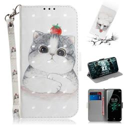 Cute Tomato Cat 3D Painted Leather Wallet Phone Case for Sony Xperia XZ3