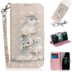 Three Squirrels 3D Painted Leather Wallet Phone Case for Sony Xperia XZ3