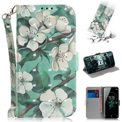 Watercolor Flower 3D Painted Leather Wallet Phone Case for Sony Xperia XZ3