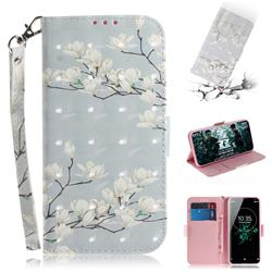 Magnolia Flower 3D Painted Leather Wallet Phone Case for Sony Xperia XZ3