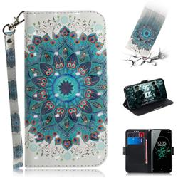 Peacock Mandala 3D Painted Leather Wallet Phone Case for Sony Xperia XZ3