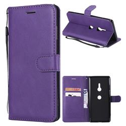 Retro Greek Classic Smooth PU Leather Wallet Phone Case for Sony Xperia XZ3 - Purple