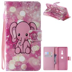 Pink Elephant PU Leather Wallet Case for Sony Xperia XZ3