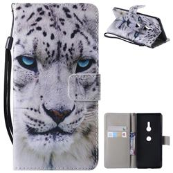 White Leopard PU Leather Wallet Case for Sony Xperia XZ3