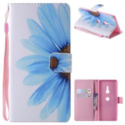 Blue Sunflower PU Leather Wallet Case for Sony Xperia XZ3