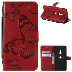 Embossing 3D Butterfly Leather Wallet Case for Sony Xperia XZ3 - Red