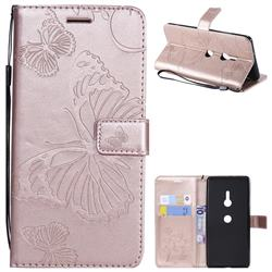 Embossing 3D Butterfly Leather Wallet Case for Sony Xperia XZ3 - Rose Gold
