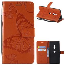 Embossing 3D Butterfly Leather Wallet Case for Sony Xperia XZ3 - Orange