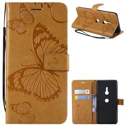 Embossing 3D Butterfly Leather Wallet Case for Sony Xperia XZ3 - Yellow
