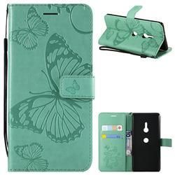 Embossing 3D Butterfly Leather Wallet Case for Sony Xperia XZ3 - Green