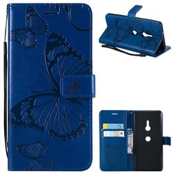 Embossing 3D Butterfly Leather Wallet Case for Sony Xperia XZ3 - Blue
