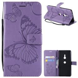 Embossing 3D Butterfly Leather Wallet Case for Sony Xperia XZ3 - Purple