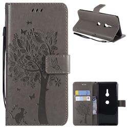 Embossing Butterfly Tree Leather Wallet Case for Sony Xperia XZ3 - Grey