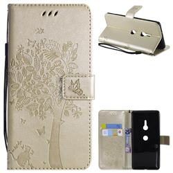 Embossing Butterfly Tree Leather Wallet Case for Sony Xperia XZ3 - Champagne