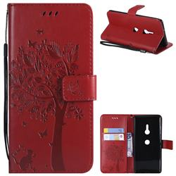 Embossing Butterfly Tree Leather Wallet Case for Sony Xperia XZ3 - Red