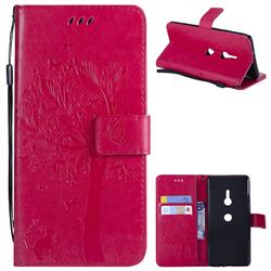 Embossing Butterfly Tree Leather Wallet Case for Sony Xperia XZ3 - Rose