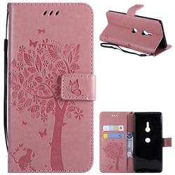 Embossing Butterfly Tree Leather Wallet Case for Sony Xperia XZ3 - Pink