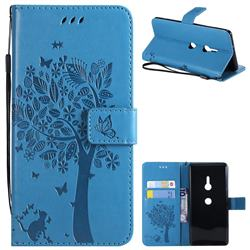 Embossing Butterfly Tree Leather Wallet Case for Sony Xperia XZ3 - Blue