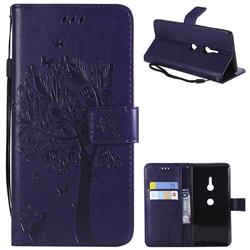 Embossing Butterfly Tree Leather Wallet Case for Sony Xperia XZ3 - Purple