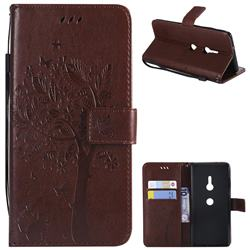 Embossing Butterfly Tree Leather Wallet Case for Sony Xperia XZ3 - Coffee