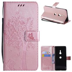 Embossing Butterfly Tree Leather Wallet Case for Sony Xperia XZ3 - Rose Pink